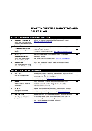 Sales and Marketing Plan Format