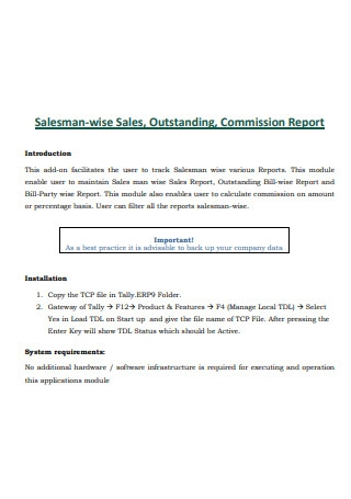 Salesman Wise Sales Outstanding Commission Report