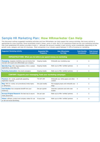 Sample Annual HR Marketing Plan