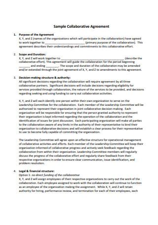 Sample Collaborative Agreement
