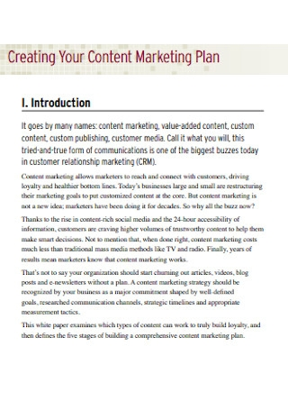 Sample Content Marketing Plan