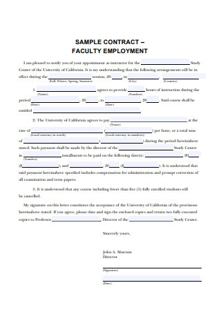 Sample Contract for Faculty Employment