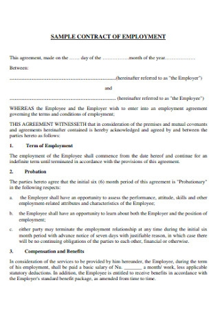 Sample Contract of Employment