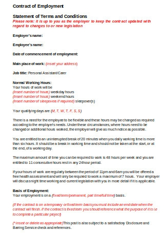 Sample Contract of Employments