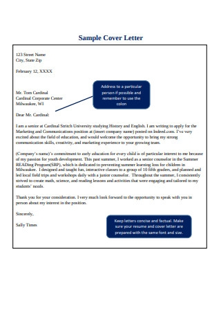 Sample Cover Letter for Sales