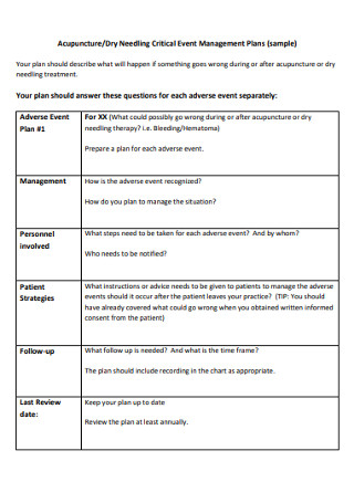 Sample Critical Event Management Plans