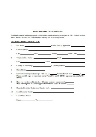 Sample Employee Questionnaire Format
