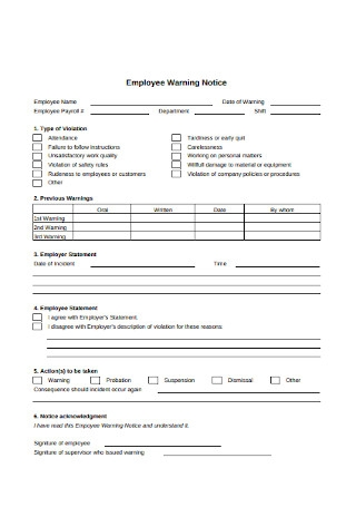 Sample Employee Warning Notice Form