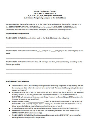 Sample Employment Contract For Domestic Employees