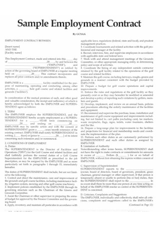 Sample Employment Contract Format