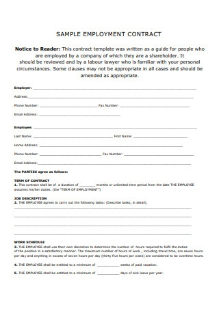 Sample Employment Contracts Format