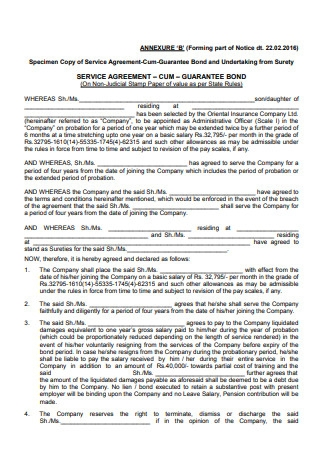 Sample Employment Service Agreement