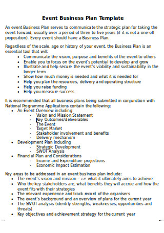 Sample Event Business Plan
