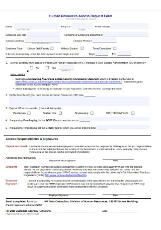 Sample HR Access Request Form