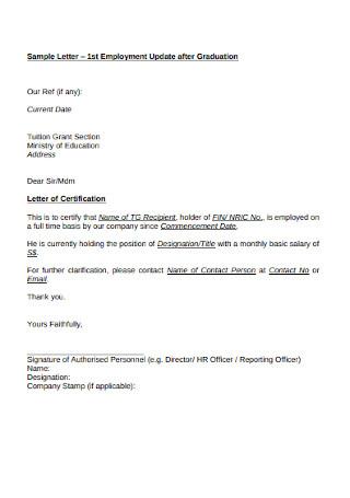Sample HR Employee Certification Cover Letter