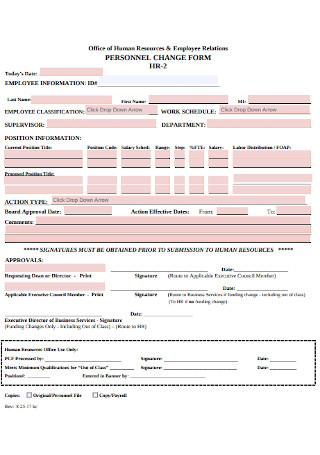 Sample HR Personal Change Form