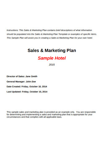 Sample Hotel Marketing Sales Plan