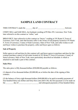 Sample Land Sale Contract