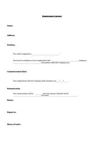 Sample Letter of Employment Contract