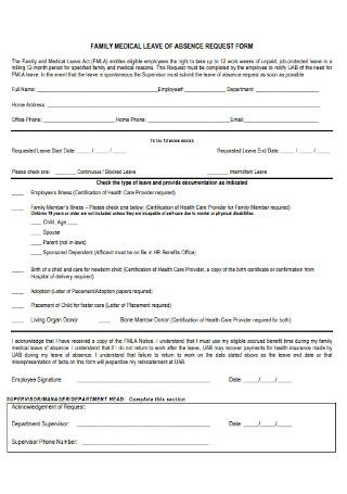 Sample Medical Leave Request Form for Employees