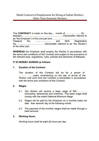 Sample Model Employment Contract