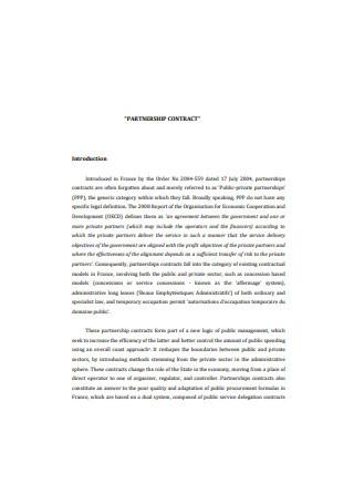 Sample Partnership Contract
