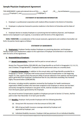 Sample Physician Employment Agreement