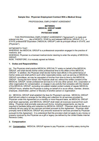 Sample Physician Employment Contract