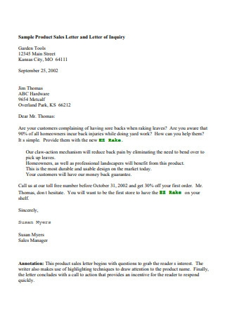 Sample Product Sales Letter and Letter of Inquiry
