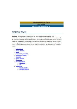 Sample Project Management Plan