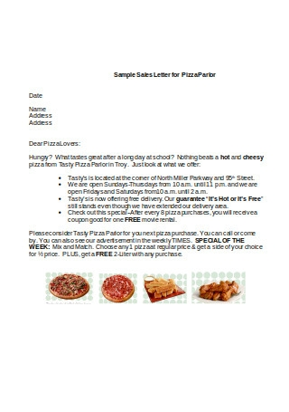 Sample Sales Letter for Pizza Parlor