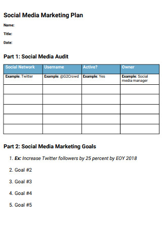 Sample Social Media Marketing Plan