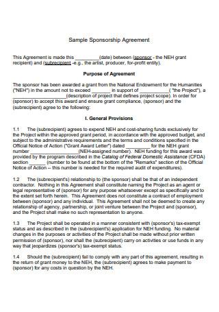 Sample Sponsorship Agreement