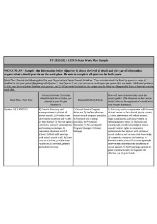 Sample State Work Plan