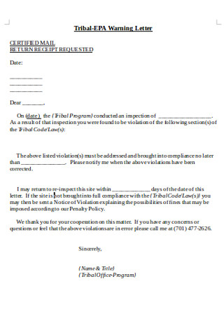 Sample Tribal Warning Letter