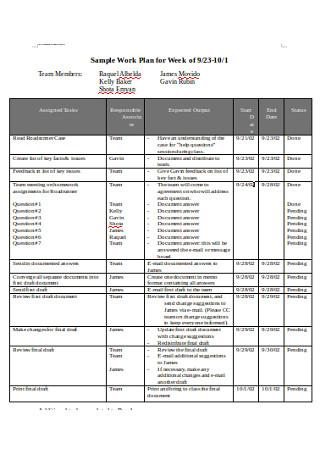 Sample Work Plan for Week