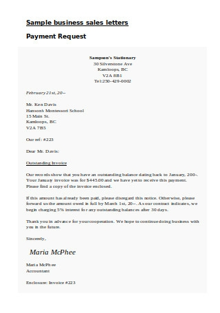 Sample business sales letters