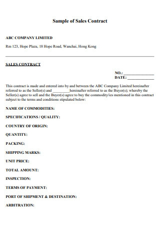 Sample of Sales Contract1