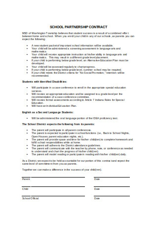 School Partnership Contract Sample