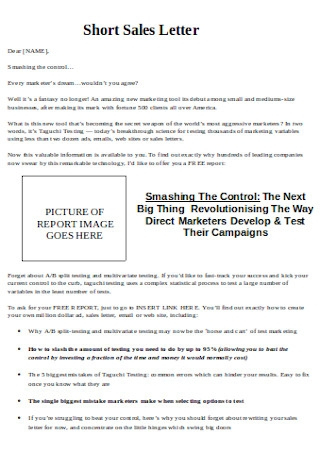 Short Sales Letter