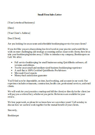 Small Firm Sales Letter