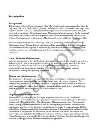 Software Maintenance Plan