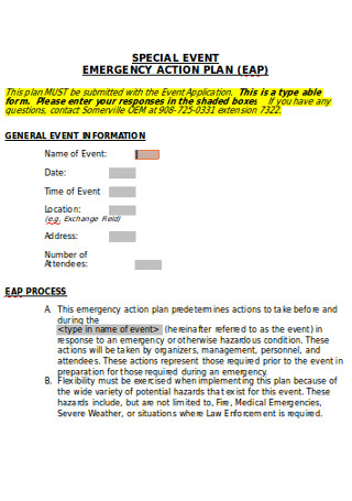 Special Event Action Plan