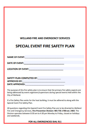 Special Event Fire Safety Plan