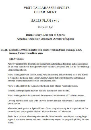 Sports Department Sales Plan Sample