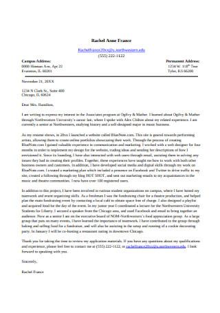 Standard Marketing Cover Letter