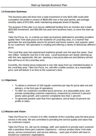 Start up Sample Business Plan