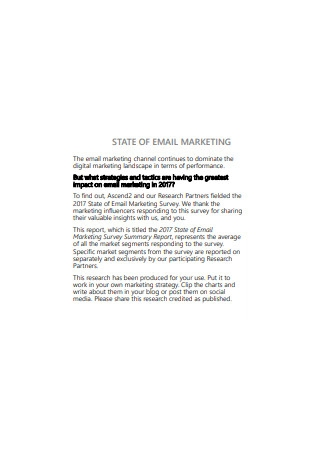 State of Email Marketing Sample
