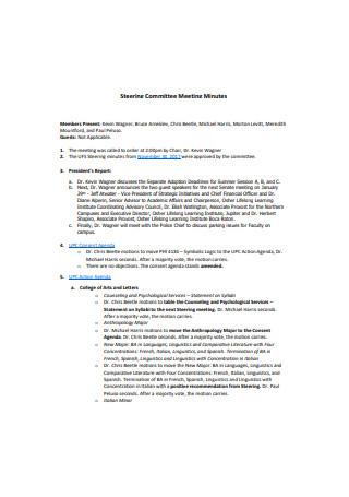 Steering Committee Meeting Minutes Sample
