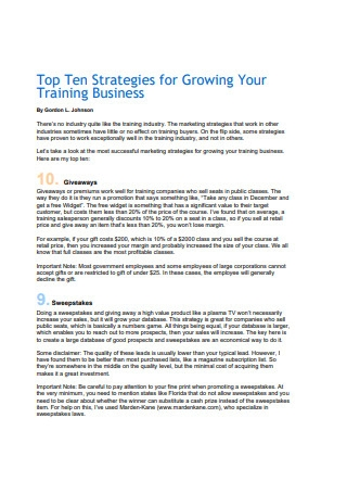 Strategies for Growing Your Training Business